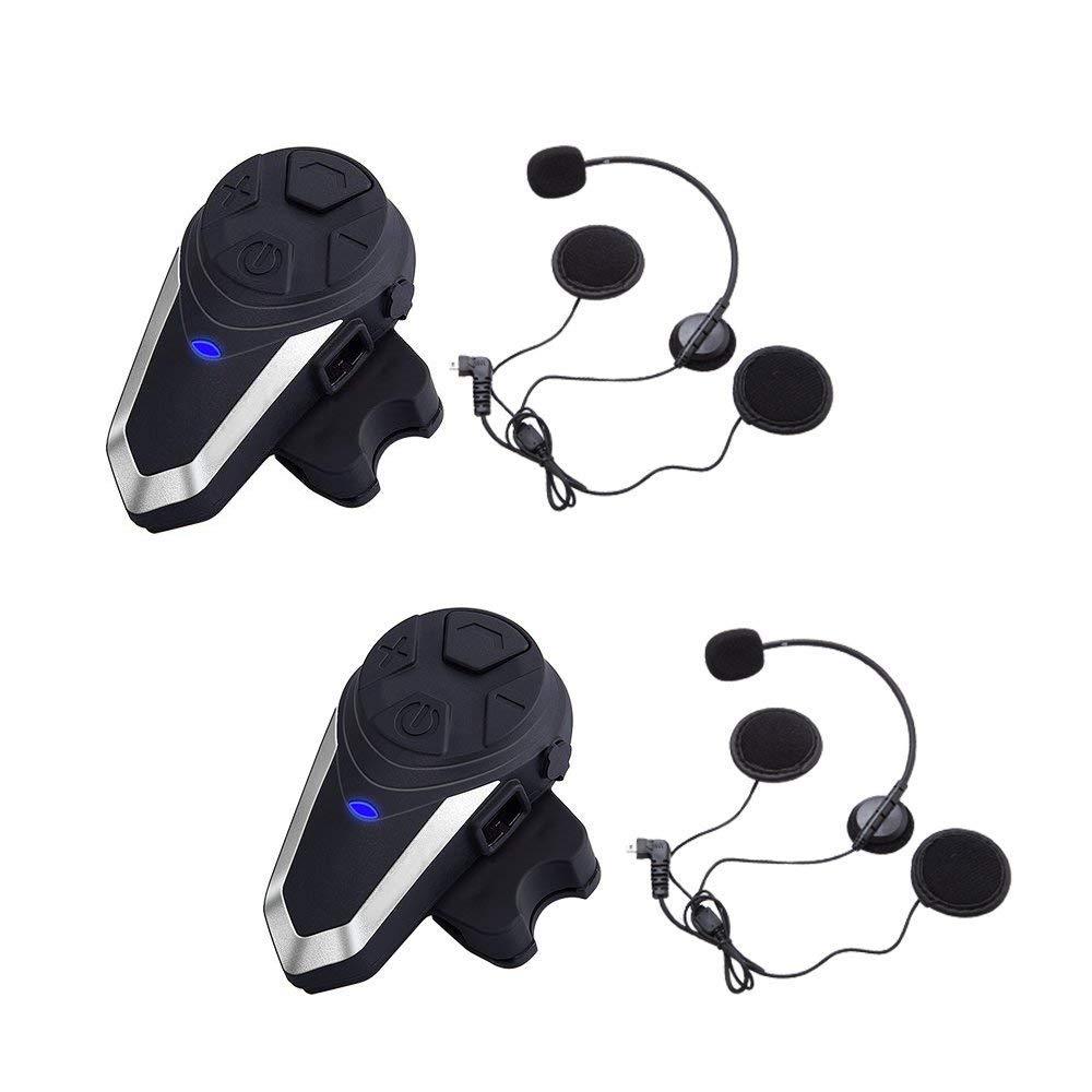 BT-S3 Motorcycle Bluetooth Headset Intercom for Helmet Intercom interphone walkie-Talkie for Motorcycle Motorbike Skiing (GPS/FM Radio/Voice Command/Music/Handsfree/Range-800M)/Dual HuanGou