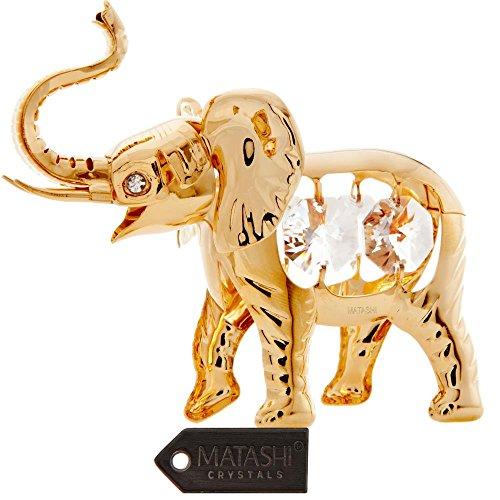 24K Gold Plated Crystal Studded Elephant Ornament by Matashi ()