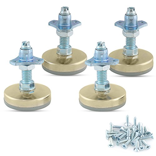 Heavy Duty Furniture Leveler Tee Nut Kit - Set of 4-3/8-16 Non-Skid Leg Levelers for Cabinets or Tables to Adjust Height of The Legs or Feet Jam Nuts to Stabilize Each Foot (Kit with Screw-on T-Nuts)