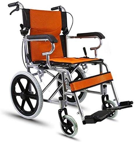 JBHURF Rollstuhl Klapprollstuhl Leichtgewicht Mit Toilette Behinderte Rollstuhlfahrer Schieben Roller 16-Zoll for ältere Menschen Behinderte (Color : Orange)
