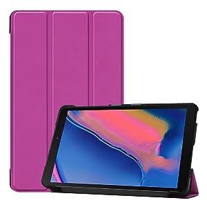 Custodia per tablet Samsung Galaxy Tab A 8 (2019) Tri-fold con protezione antigraffio, senza funzione sleep, colore: viola