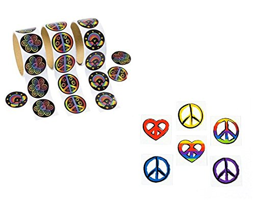AWESOME Peace Sign Favors 300 RAINBOW PEACE STICKERS & 72 PEACE TATTOOS - Sixties Seventies THEME - Hippie RETRO - Classroom GIVEAWAYS]()