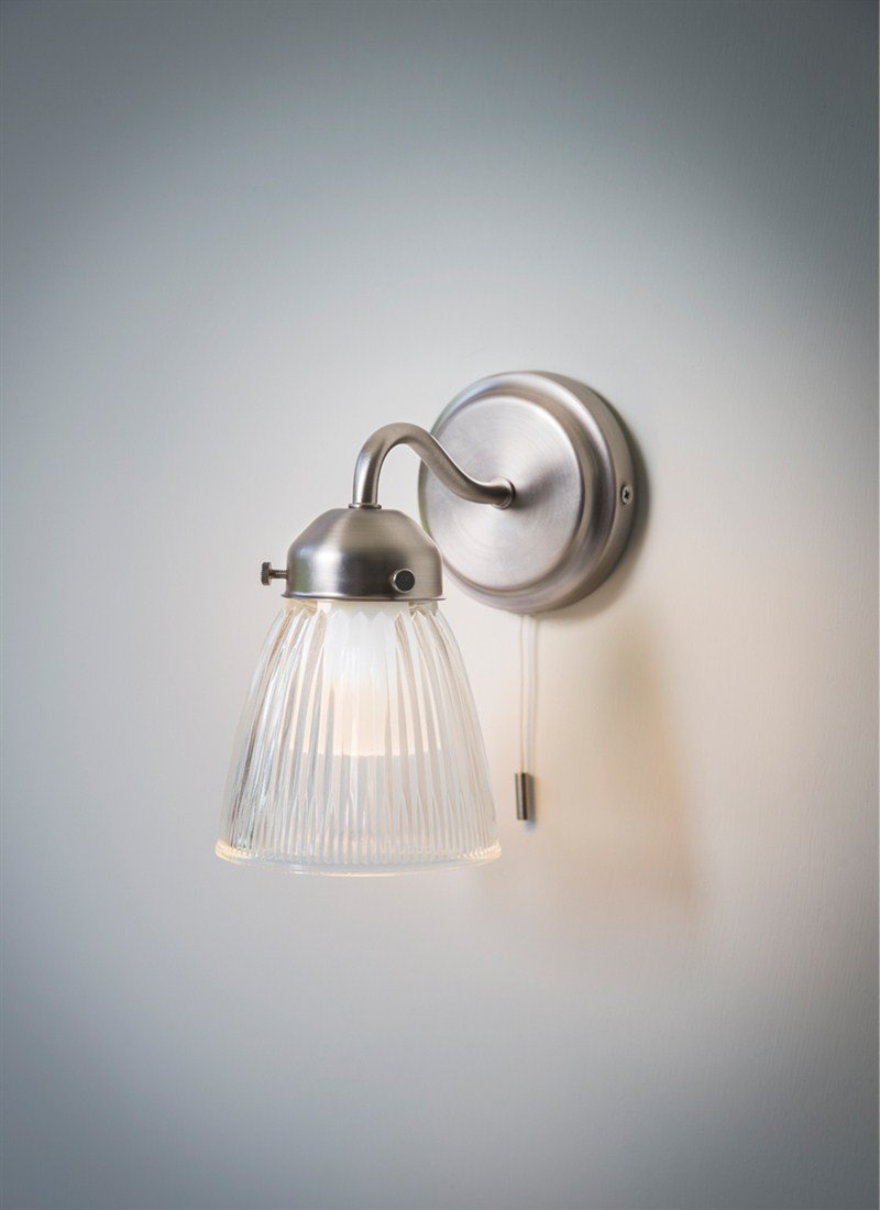 Garden Trading Pimlico Bathroom Wall Light Glass Brushed Satin Chrome Pull Cord Switch Amazoncouk Lighting