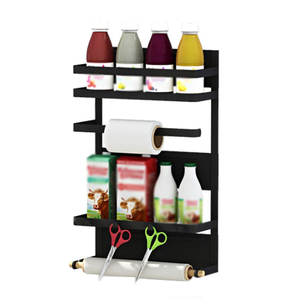 Magnetic Refrigerator Side Kitchen Rack Aluminum Black Food Plastic Wrap Wall-Mounted Multi-Function Storage Household MUMUJIN (Size : 30cm11.5cm46cm)
