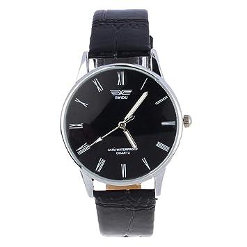 JDHCBGBG Reloj De Pulsera para Hombre Reloj Moda Hombre Clásico Número Romano Cuarzo Relojes De Pulsera De Cuero Electrónicos Classics Vintage Casual ...