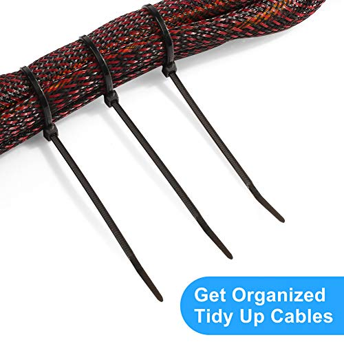 LotFancy100 Packs Cable Zip Ties 8 Inch, Heavy Duty Self-Locking Zip Ties, UV Resistant Nylon Tie with 50lb Pounds Tensile Strength for Tying Cables Indoor and Outdoor, Pack of 100