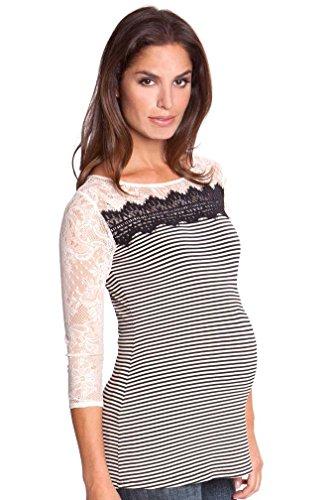 Olian Karina Mixed Media Stripe Lace Maternity Top - Beige/Black - X-Large