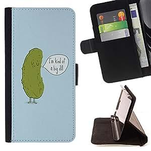 BullDog Case - FOR/Sony Xperia Z1 L39 / - / cucumber dill funny quote joke green penis /- Monedero de cuero de la PU Llevar cubierta de la caja con el ID Credit Card Slots Flip funda de cuer