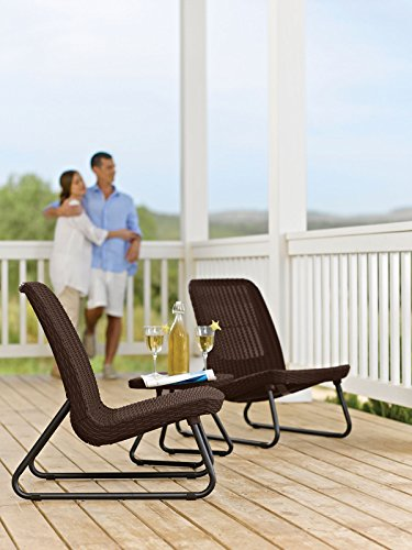 Keter Rio 3 Pc All Weather Outdoor Patio Garden Conversation Chair & Table Set Furniture, Brown by Keter (Image #13)'