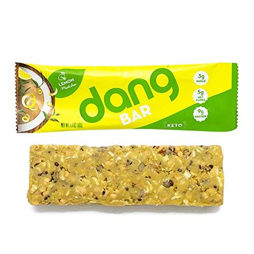 Dang Bar - KETO CERTIFIED, Low Carb, Low Sugar, Plant-Based, Gluten-Free, Real Food Snack Bar, 3g Sugar, 5g Net Carbs, No Sugar Alcohols or Artificial Sweeteners, 12 Count (Lemon Matcha)