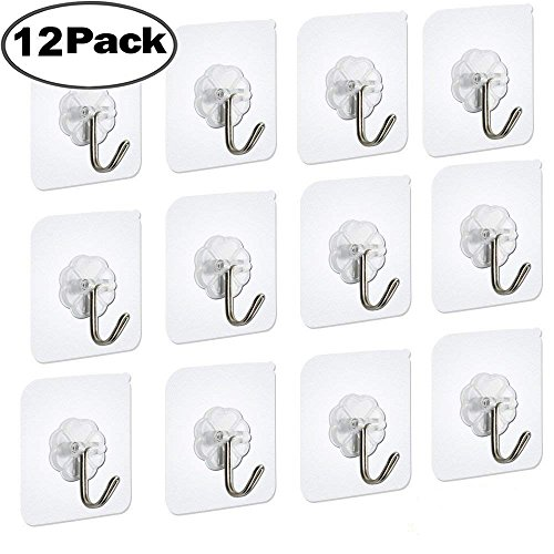 Adhesive Wall Hooks Utility Hooks Seamless Transparent Hooks Wall Hanger 15 Pounds (Max) Without Nails, Waterproof and Oilproof For Brooms, Mops, Robes, Coats, Towels, Kitchen Utensils-12 (Utility Adhesive Hook)