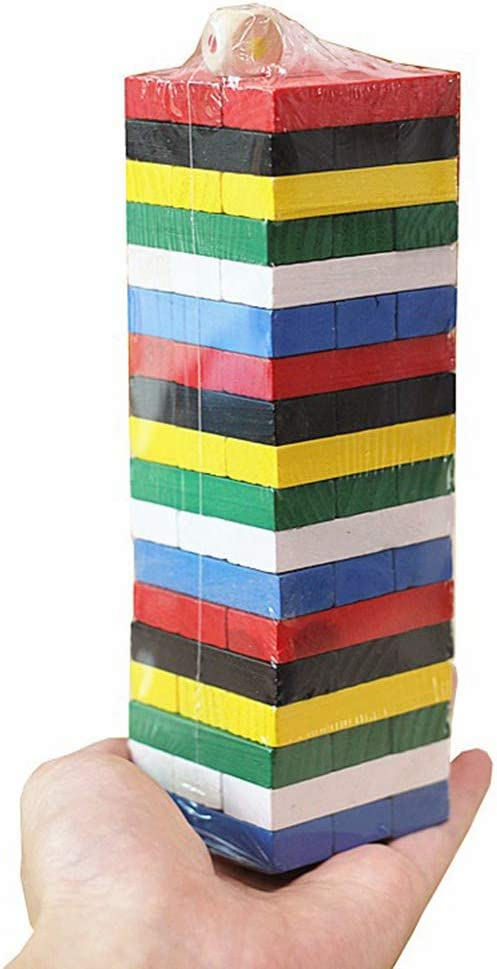 Daxoon Building blocks stacking games wooden stacking tower balance tower board games for kids adults