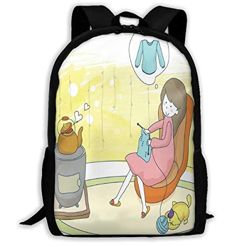 Laptop Backpack Pregnant Woman Knitting Sweater Zipper School Bookbag Daypack Travel Rucksack Gym Bag For Man Women