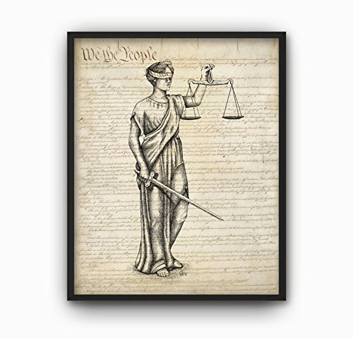MS Fun Justice Lawyer Attorney Office Lady Nursery Canvas Art Print for Home Decoration 8x10,No Frame ()