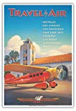 Travel by Air - Western Air Express - Glendale, California - Grand Central Air Terminal - Vintage Style Airline Travel Poster by Kerne Erickson - Master Art Print - 13 x 19in