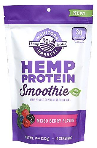 Manitoba Harvest Hemp Protein Smoothie Mix, Mixed Berry, 11oz; with 15g protein per Serving, Non-GMO