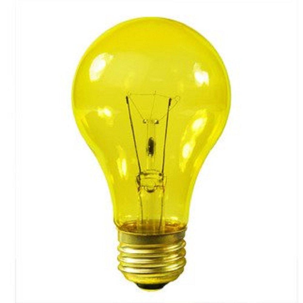 4 Pack 25 Watt A19 Transparent Yellow Incandescent Medium Base Party Light Bulb