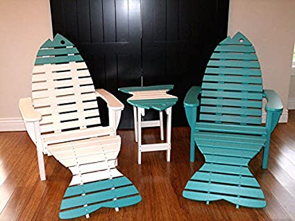 Amazon Com Poly Fish Adirondack Chair Set 2 Chairs 2 Ottomans