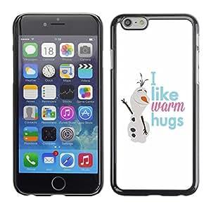 Cubierta de la caja de protección la piel dura para el Apple iPhone 6PLUS (5.5) - snowman text winter snow white