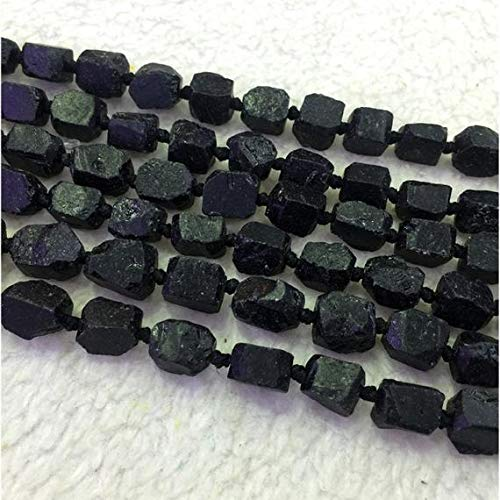 GemAbyss Beads Gemstone 1 Strands Natural Black Tourmaline Hand Cut Nugget Free Form Loose Rough Matte Faceted Beads 6-8mm 15 Inch Long 04318-T Code-MVG-29824