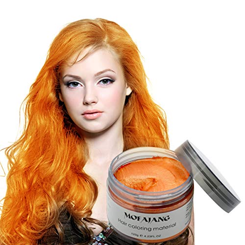 MOFAJANG Unisex Hair Color Dye Wax Styling Cream Mud, Natural Hairstyle Pomade, Temporary Hair Dye Wax for Party, Cosplay & Halloween, 4.23 oz (Orange)]()