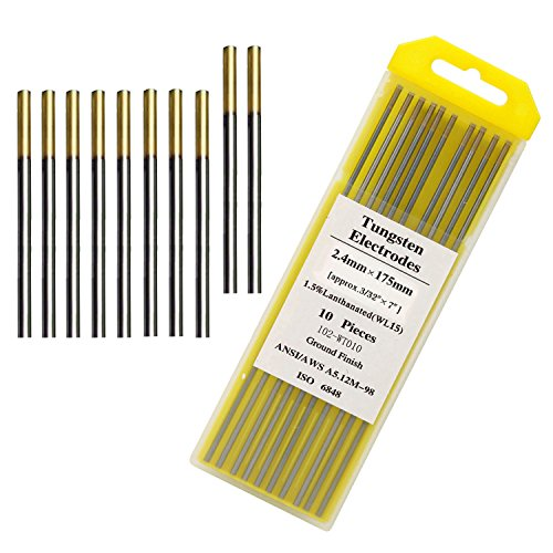 "Tig Welding Tungsten Electrodes 1.5% Gold Lanthanated Tungsten 3/32"" 10 Pack"