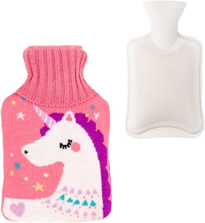 Classic Natural Rubber Hot Water Bottle 2 Liter w/with Unicorn Knit Cover (Pink)