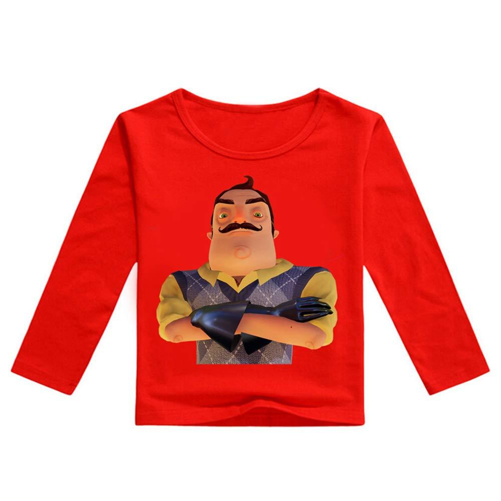 MNmkjgfgj Hello Neighbor Manica Lunga Maglietta T-Shirt for Bambini Manica Lunga T-Shirt in Cotone T-Shirt Casual for Bambini Maglietta con Stampa Cartoon for Ragazza e Ragazzo Ragazzi