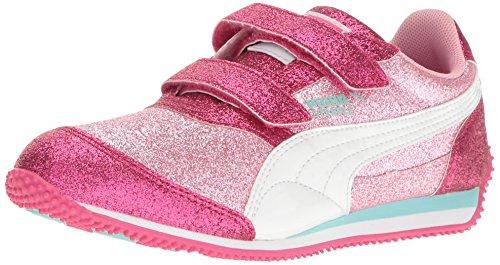 PUMA Steeple Glitz Glam V Kids Sneaker (Toddler/ Little Kid/Big Kid), Prism Pink-Puma White, 1 M US Little (Kids Puma Shoes)