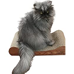 Deluxe Corrugated Cat Scratcher - Rambo's Scratch –O– Lounger Wave By AddibeePets - Tightly Compressed Recycled Cardboard - Santos Mahogany Veneer Wood Sides for Durability - Protect Your Furniture and Rugs with Their Very Own Scratcher!