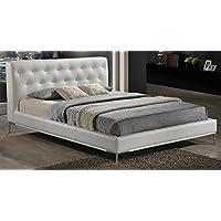 Baxton Studio Panchal Modern Platform Bed, Queen, White