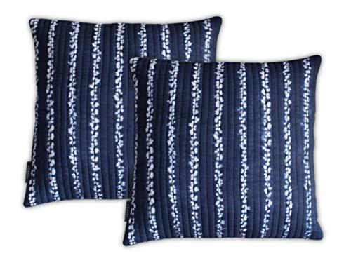 AGASVI Cotton Indigo Shibori Tie Dye Throw Pillow Covers 16x16 Inch Set of 2 ()