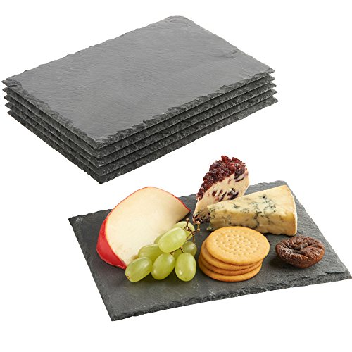 VonShef Mini Slate Cheese Board Plates for Dinner Parties and Entertaining, 8.7 x 6.3 Inches, Set of 6 by VonShef