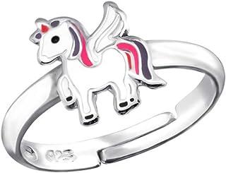 La Rosa Princesa LRP - Anello per Bambini Unicorno - 925 Argento - Ragazza Regolabile - Taglia Unica - Unicorno