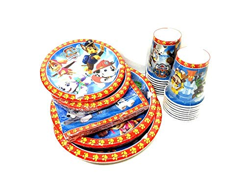 THE UM24 Paw Patrol Birthday Party Supply Set for 16, Dinner Plates, Dessert Plate, Cups, Napkins -