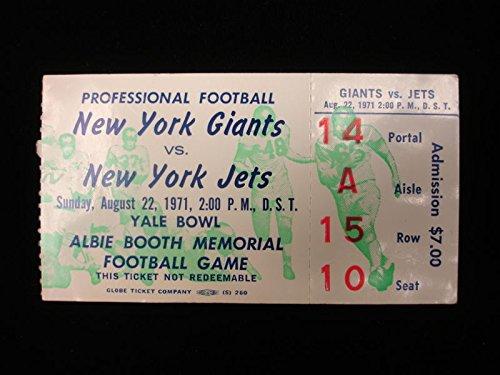 August 22nd, 1971 New York Giants vs. New York Jets Ticket Stub (New York Giants New York Jets Tickets)