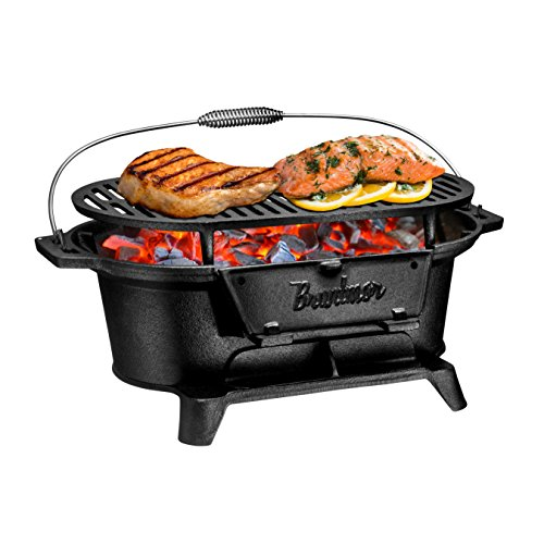 Hibachi Charcoal Grills - Bruntmor Pre-Seasoned Hibachi-Style Portable Cast Iron Charcoal BBQ Grill