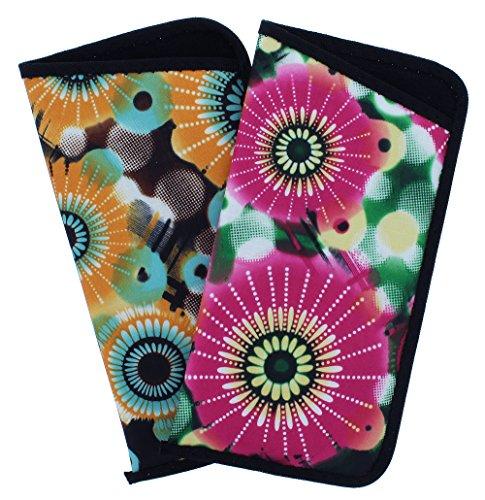2 Pack Soft Slip In Eyeglass Case For Women, Colorful Daisy Design Pink & Orange