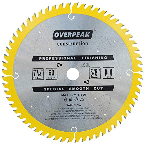 - OVERPEAK 7 1/4 Inch Circular Saw Blade 60 Tooth Ultra Finish Framing Carbide Saw Blades with 5/8 Inch Arbor