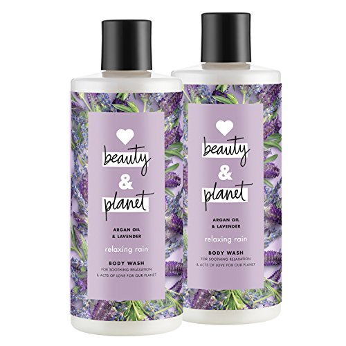 Love Beauty And Planet Relaxing Rain Body Wash, Argan Oil & Lavender, 16 oz, 2 (Relaxing Shower And Bath Gel)