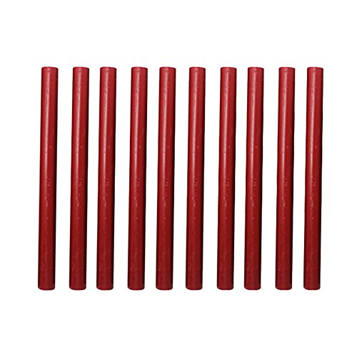 (Sealing Wax Sticks,10 Pieces Flexible Glue Gun Sealing Wax for Retro Vintage Invitations Envelope Letter (Red))