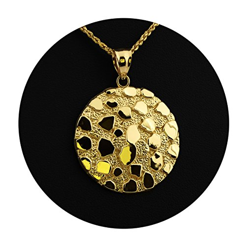 MR. BLING 10K Yellow Gold Round Nugget Charm Pendant (1.60