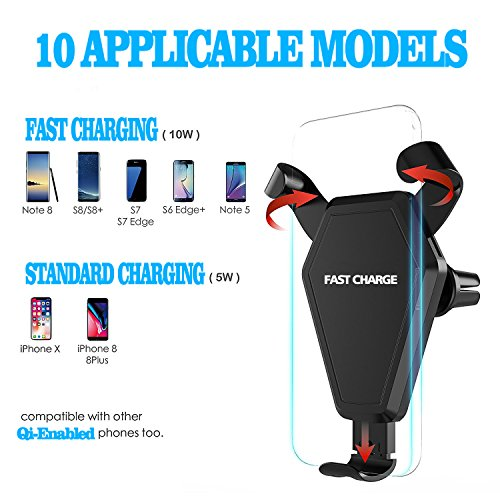 Fast Wireless Charger,MEIWU Car Mount Air Vent Phone Holder Cradle for Samsung Galaxy Note 7/6/S8/S8 plus/S7/S6 Edge plus,QI Wireless Standard Charge for iPhone 8/8 plus/X etc. by MEIWU (Image #3)