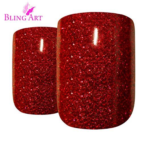 (False Nails Bling Art French Fake Red Gel Glitter Squoval 24 Acrylic Medium Tips)
