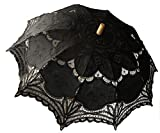 Saitec® 30'' New Arrival Black Old Fasion Embroidered Lace Parasol Sun Umbrella Wedding Bridal Party Decoration
