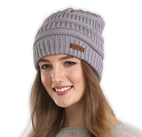 Brook + Bay Cable Knit Multicolored Beanie by Stay Warm & Stylish this Winter - Thick, Soft & Chunky Beanie Hats for Women & Men - Serious Beanies for Serious Style (Gray) (Women Winter Warm Hat)