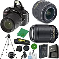 Nikon D5300 - International Version (No Warranty), 18-55mm f/3.5-5.6 DX VR, Nikon 55-200mm f4-5.6G VR, Tripod, 6pc Cleaning Set
