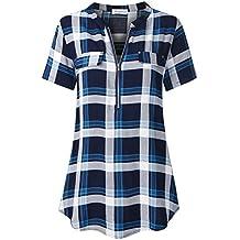 Faddare Women's Summer Short Sleeve Zip up V-Neck Blouse Shirts Tops