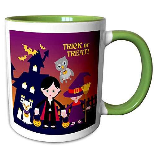 3dRose Belinha Fernandes - Halloween Celebration - Trick or treat message and dog ghost with kids dressed up in dracula and witch costumes - 15oz Two-Tone Green Mug (mug_125916_12)