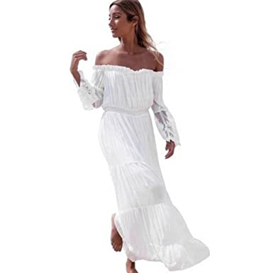 Minisoya Women Summer Strapless Beach Dress Casual Loose Off Shoulder Lace Tunic Chiffon Long Maxi Dress